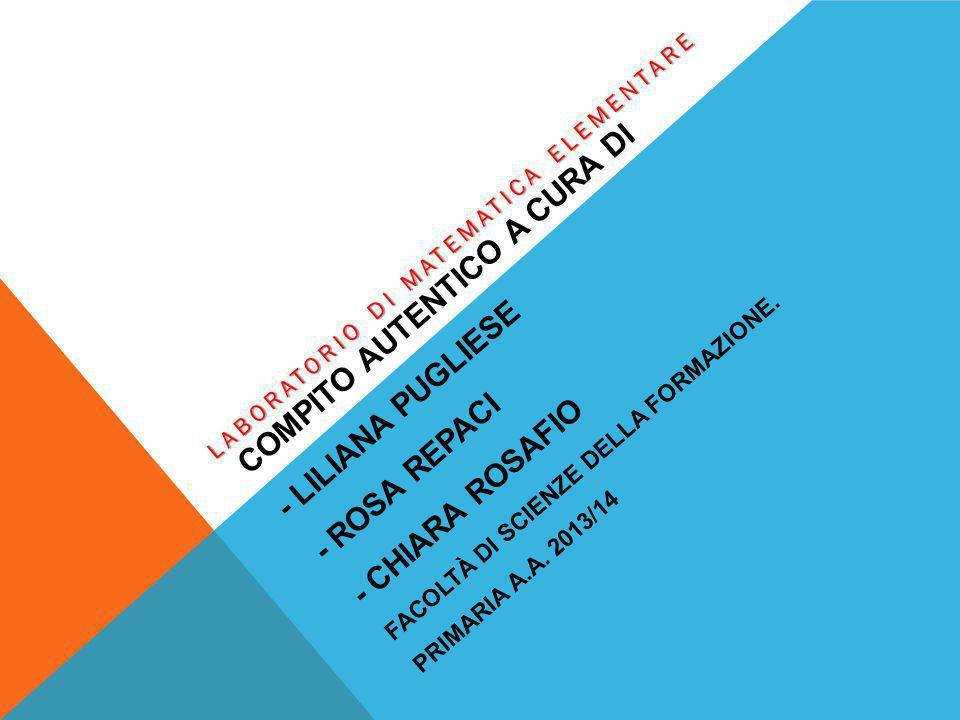COMPITO AUTENTICO A CURA DI - LILIANA PUGLIESE - ROSA REPACI - CHIARA ROSAFIO FACOLTÀ DI SCIENZE DELLA FORMAZIONE. PRIMARIA A.A. 2013/14 LABORATORIO D