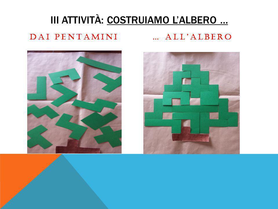 III ATTIVITÀ: COSTRUIAMO L'ALBERO … DAI PENTAMINI… ALL'ALBERO