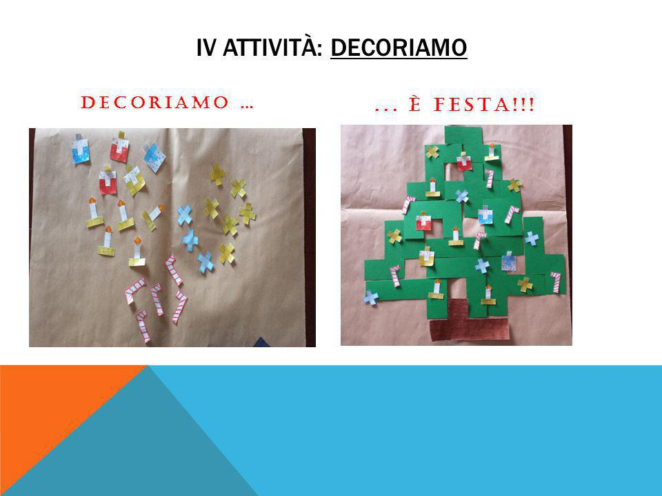 IV ATTIVITÀ: DECORIAMO DECORIAMO …... È FESTA!!!