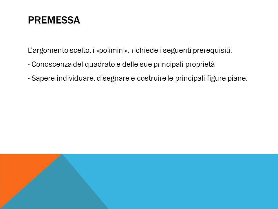 PREMESSA L'argomento scelto, i «polimini», richiede i seguenti prerequisiti: - Conoscenza del quadrato e delle sue principali proprietà - Sapere indiv