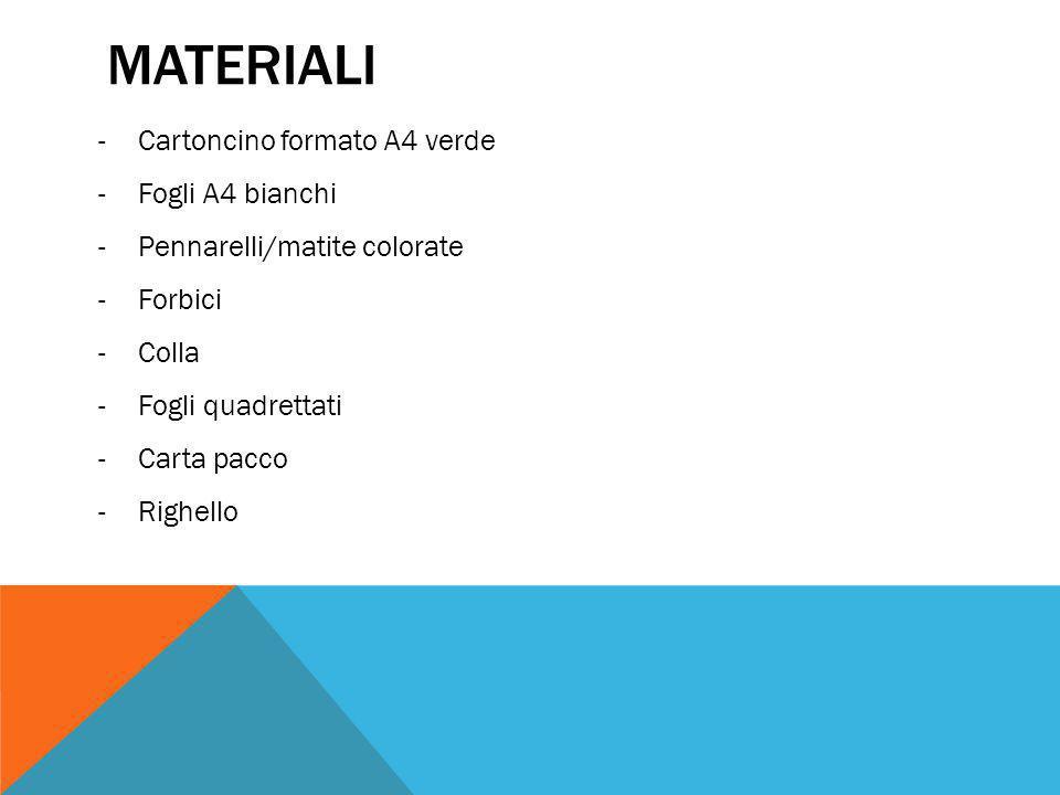 MATERIALI -Cartoncino formato A4 verde -Fogli A4 bianchi -Pennarelli/matite colorate -Forbici -Colla -Fogli quadrettati -Carta pacco -Righello