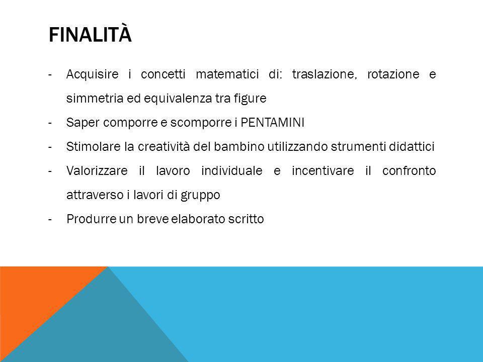 FINALITÀ -Acquisire i concetti matematici di: traslazione, rotazione e simmetria ed equivalenza tra figure -Saper comporre e scomporre i PENTAMINI -St