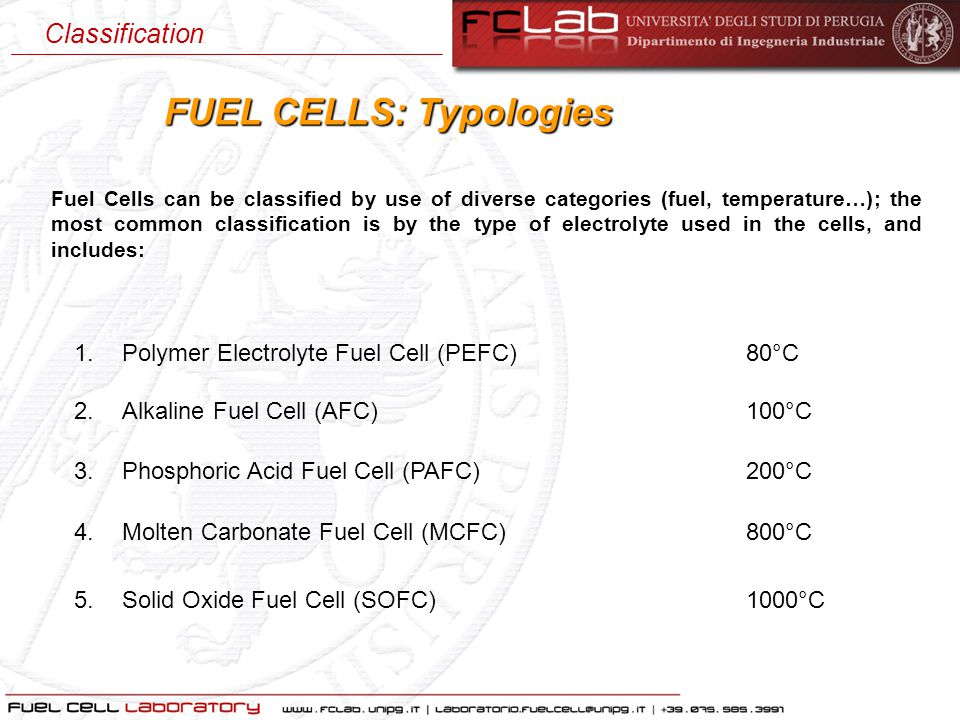 1.Polymer Electrolyte Fuel Cell (PEFC) 80°C FUEL CELLS: Typologies Fuel Cells can be classified by use of diverse categories (fuel, temperature…); the