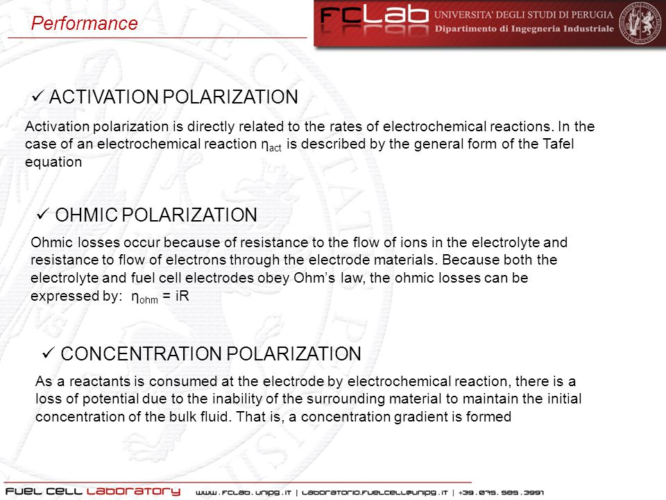 ACTIVATION POLARIZATION OHMIC POLARIZATION CONCENTRATION POLARIZATION Activation polarization is directly related to the rates of electrochemical reac