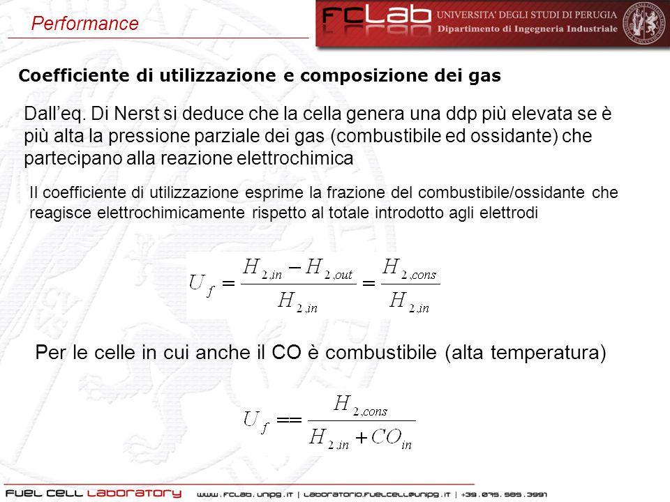 Coefficiente di utilizzazione e composizione dei gas Dall'eq. Di Nerst si deduce che la cella genera una ddp più elevata se è più alta la pressione pa