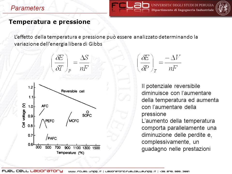 Temperatura e pressione L'effetto della temperatura e pressione può essere analizzato determinando la variazione dell'energia libera di Gibbs Il poten