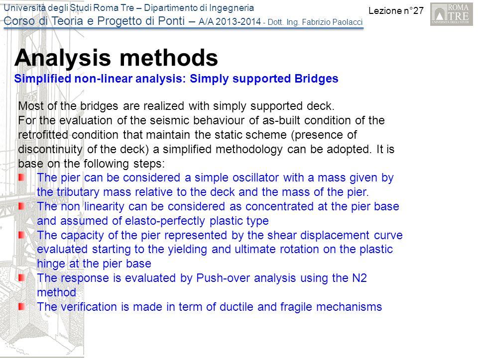 Lezione n°27 Università degli Studi Roma Tre – Dipartimento di Ingegneria Corso di Teoria e Progetto di Ponti – A/A 2013-2014 - Dott.