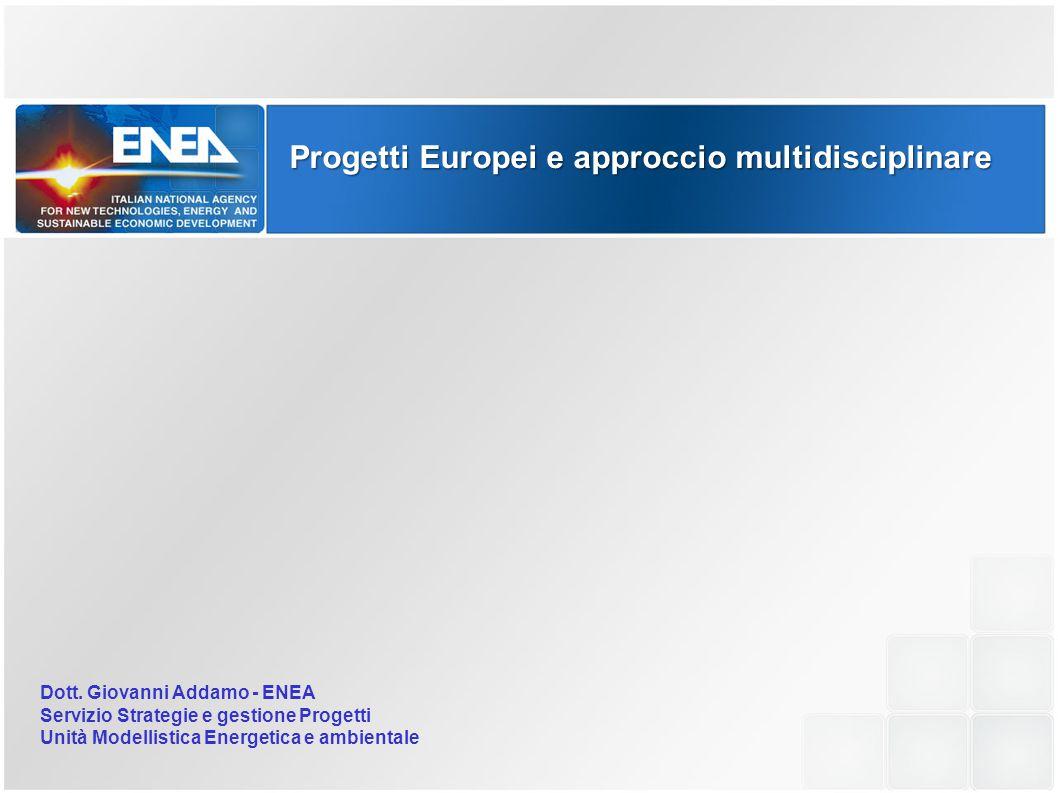 Progetti Europei e approccio multidisciplinare Dott. Giovanni Addamo - ENEA Servizio Strategie e gestione Progetti Unità Modellistica Energetica e amb