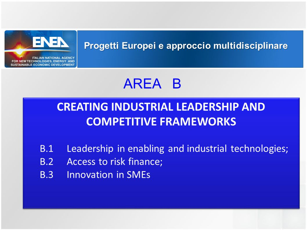 Progetti Europei e approccio multidisciplinare CREATING INDUSTRIAL LEADERSHIP AND COMPETITIVE FRAMEWORKS B.1Leadership in enabling and industrial tech