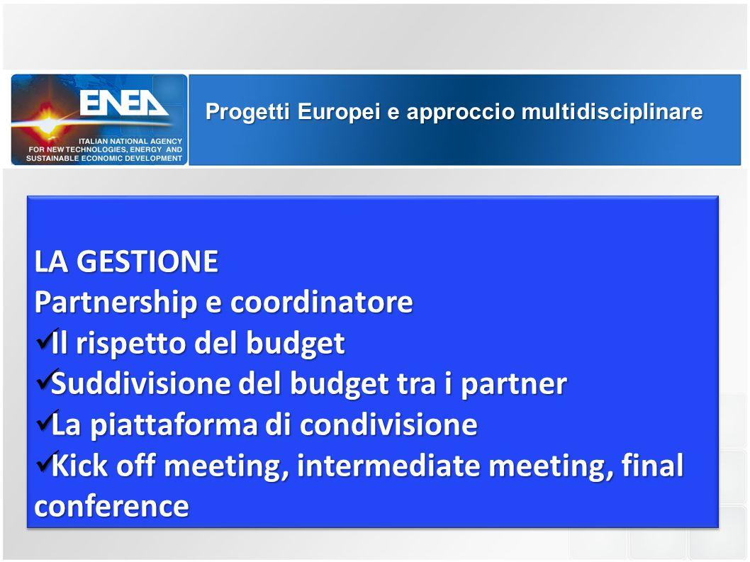 Progetti Europei e approccio multidisciplinare LA GESTIONE Partnership e coordinatore Il rispetto del budget Il rispetto del budget Suddivisione del b