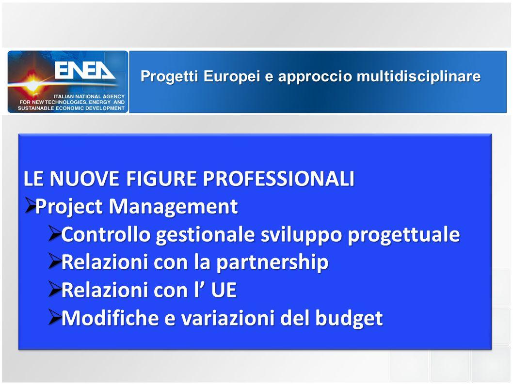 Progetti Europei e approccio multidisciplinare LE NUOVE FIGURE PROFESSIONALI  Project Management  Controllo gestionale sviluppo progettuale  Relazi