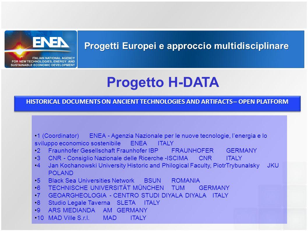 Progetti Europei e approccio multidisciplinare Progetto H-DATA HISTORICAL DOCUMENTS ON ANCIENT TECHNOLOGIES AND ARTIFACTS – OPEN PLATFORM 1 (Coordinat