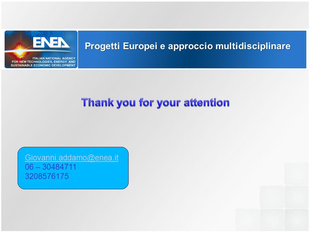 Progetti Europei e approccio multidisciplinare Giovanni.addamo@enea.it 06 – 30484711 3208576175