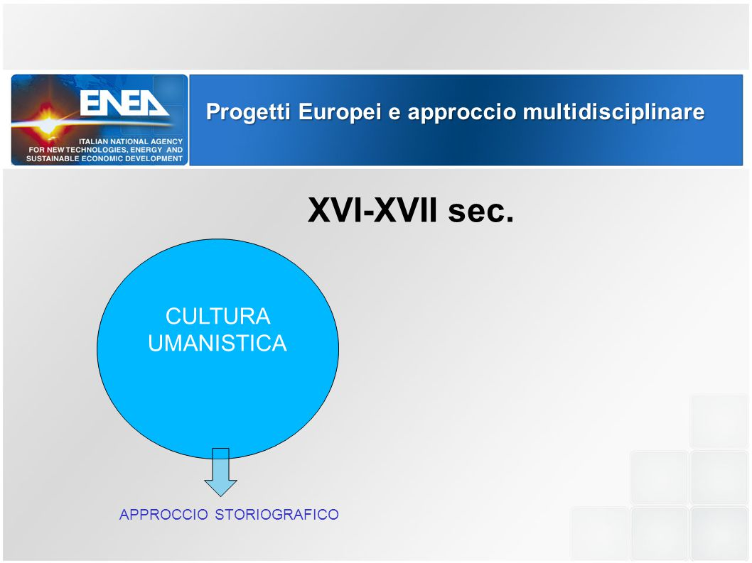 Progetti Europei e approccio multidisciplinare CULTURA UMANISTICA XVI-XVII sec. APPROCCIO STORIOGRAFICO