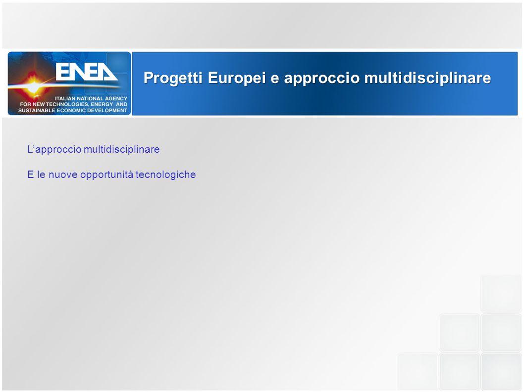 Progetti Europei e approccio multidisciplinare  moltiplicazione delle opportunità di finanziamento sul mercato europeo  integrazione delle culture sia in ambito europeo che mondiale  interscambio con esperienze tecnico professionali diversificate  continuo benchmarking delle tecnologie, dei metodi, dell'utilizzo di strumenti innovativi L'approccio multidisciplinare E le nuove opportunità tecnologiche
