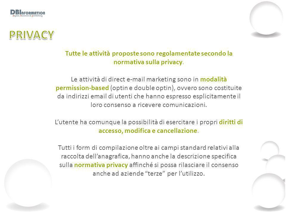 Tutte le attività proposte sono regolamentate secondo la normativa sulla privacy. Le attività di direct e-mail marketing sono in modalità permission-b