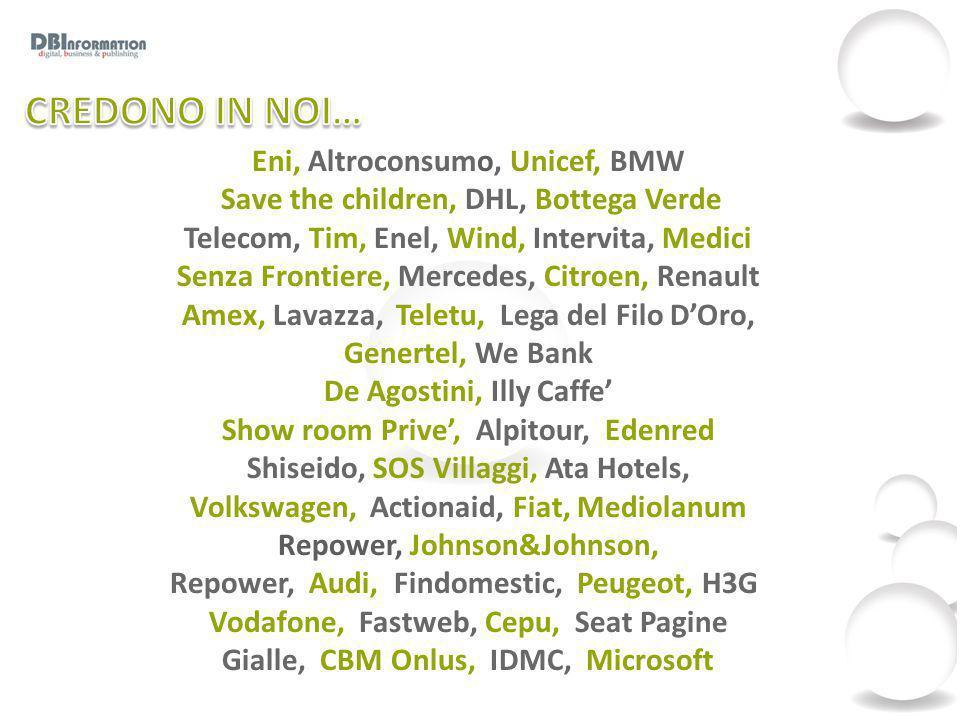 Eni, Altroconsumo, Unicef, BMW Save the children, DHL, Bottega Verde Telecom, Tim, Enel, Wind, Intervita, Medici Senza Frontiere, Mercedes, Citroen, R