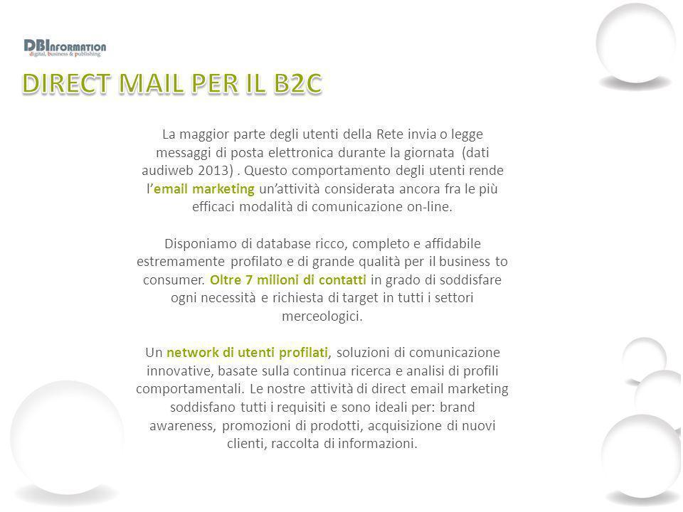 La maggior parte degli utenti della Rete invia o legge messaggi di posta elettronica durante la giornata (dati audiweb 2013). Questo comportamento deg