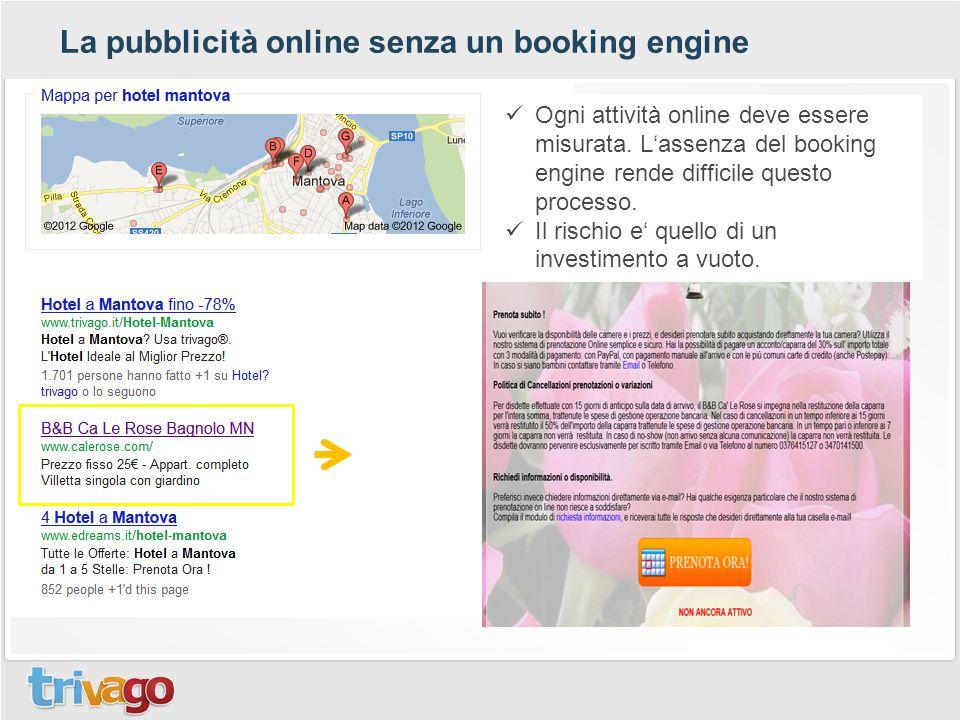 La pubblicità online senza un booking engine Ogni attività online deve essere misurata. L'assenza del booking engine rende difficile questo processo.