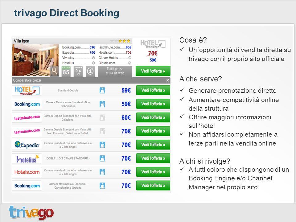 trivago Direct Booking Cosa è? Un´opportunità di vendita diretta su trivago con il proprio sito ufficiale A che serve? Generare prenotazione dirette A
