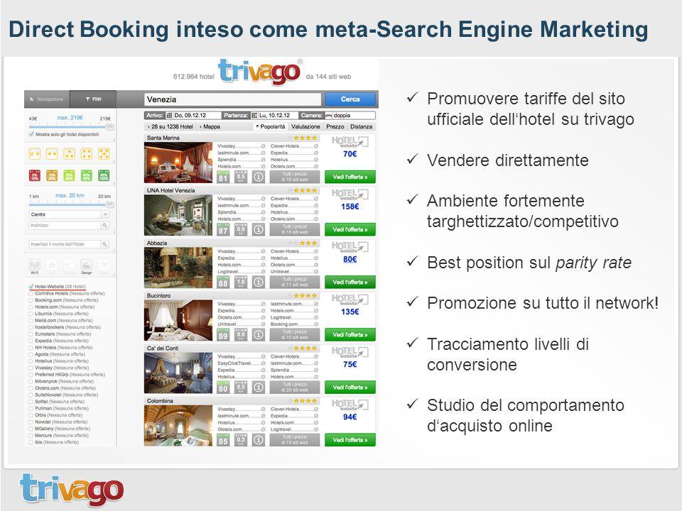 Direct Booking inteso come meta-Search Engine Marketing Promuovere tariffe del sito ufficiale dell'hotel su trivago Vendere direttamente Ambiente fortemente targhettizzato/competitivo Best position sul parity rate Promozione su tutto il network.