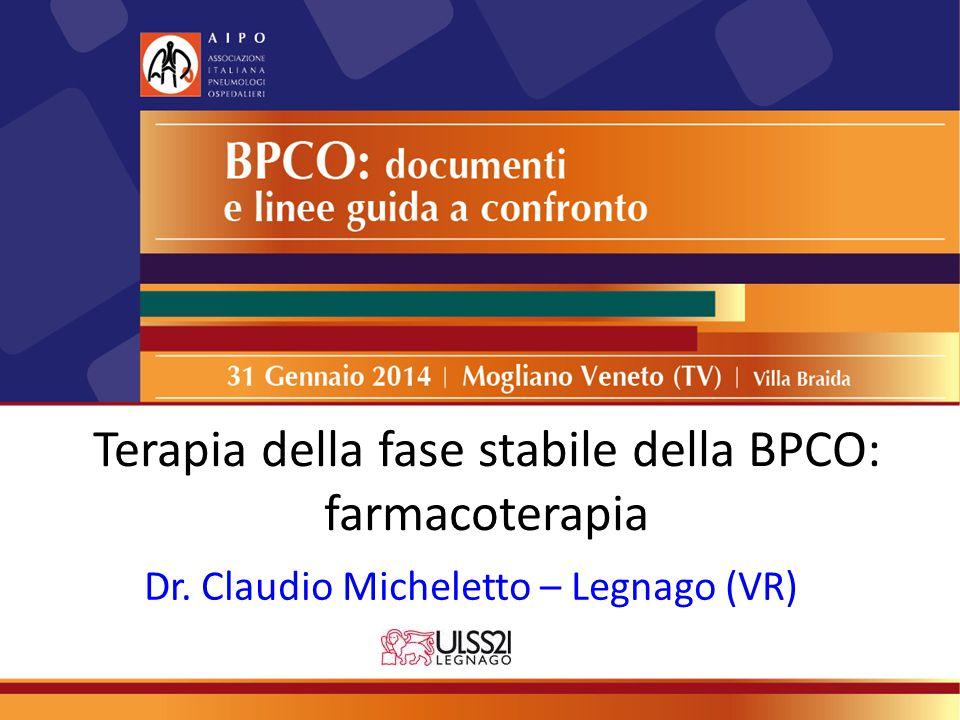 Terapia della fase stabile della BPCO: farmacoterapia Dr. Claudio Micheletto – Legnago (VR)