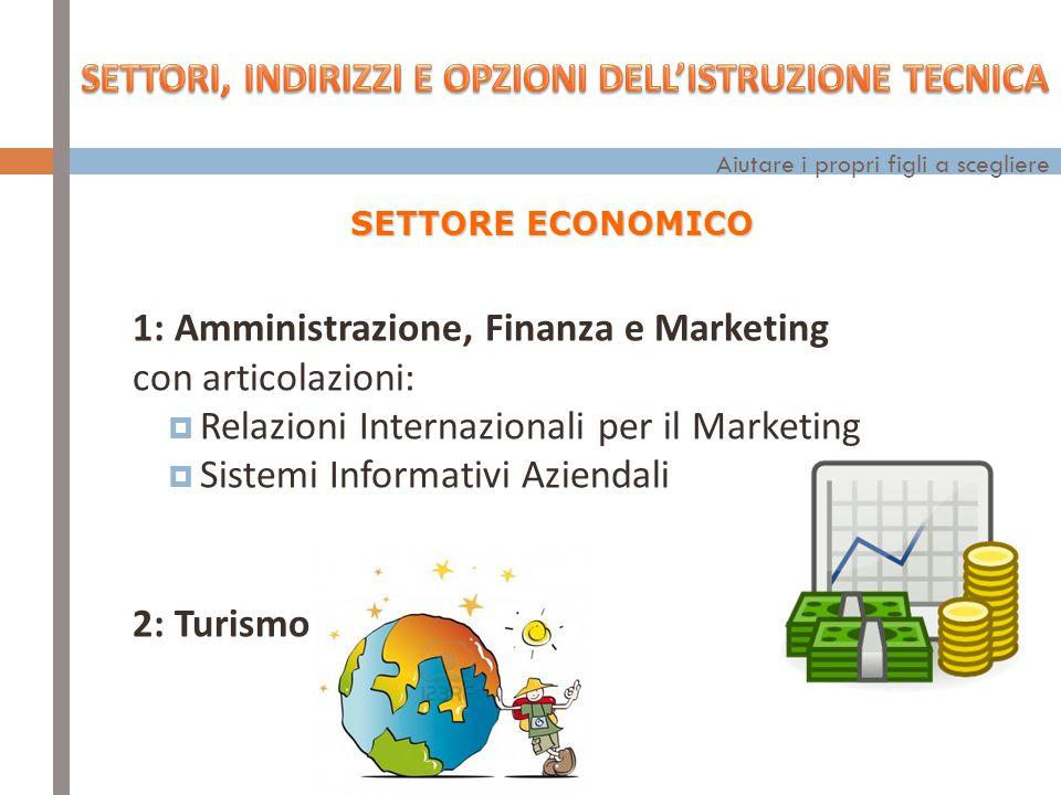 1: Amministrazione, Finanza e Marketing con articolazioni:  Relazioni Internazionali per il Marketing  Sistemi Informativi Aziendali 2: Turismo SETTORE ECONOMICO