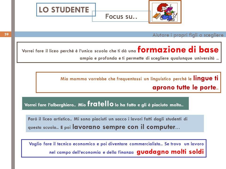 Aiutare i propri figli a scegliere LO STUDENTE Focus su..