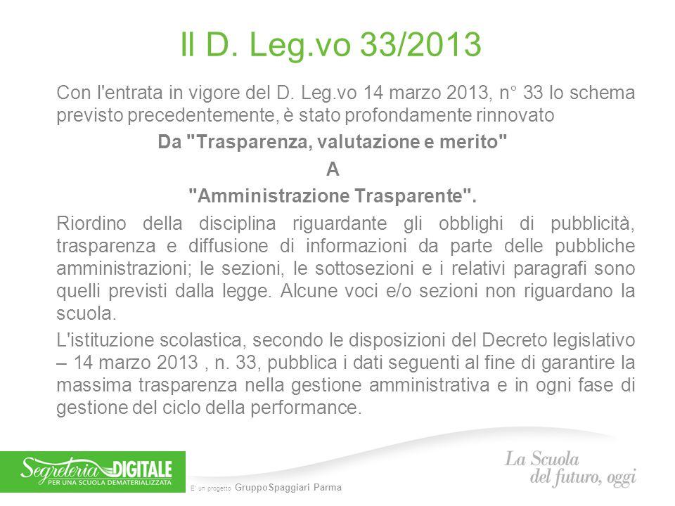 E' un progetto GruppoSpaggiari Parma Il D. Leg.vo 33/2013 Con l'entrata in vigore del D. Leg.vo 14 marzo 2013, n° 33 lo schema previsto precedentement