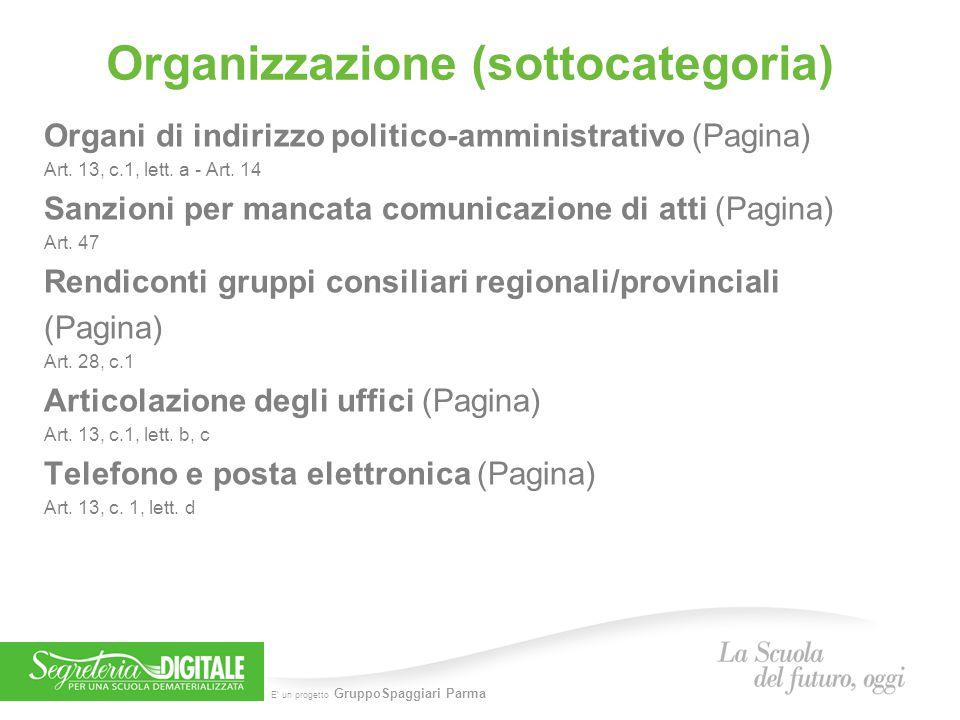 E' un progetto GruppoSpaggiari Parma Organizzazione (sottocategoria) Organi di indirizzo politico-amministrativo (Pagina) Art. 13, c.1, lett. a - Art.