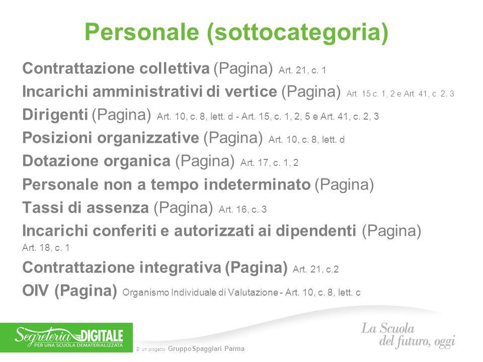 E' un progetto GruppoSpaggiari Parma Personale (sottocategoria) Contrattazione collettiva (Pagina) Art. 21, c. 1 Incarichi amministrativi di vertice (