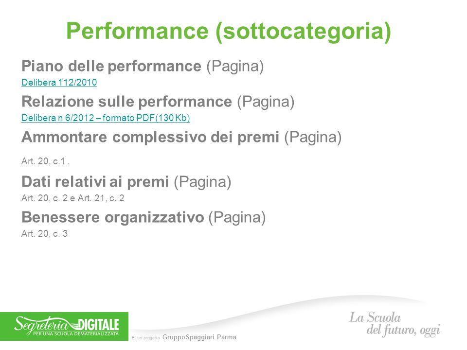 E' un progetto GruppoSpaggiari Parma Performance (sottocategoria) Piano delle performance (Pagina) Delibera 112/2010 Relazione sulle performance (Pagi