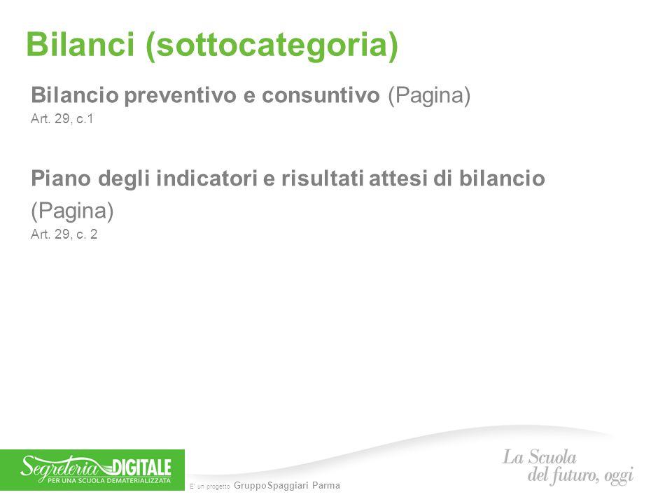 E' un progetto GruppoSpaggiari Parma Bilanci (sottocategoria) Bilancio preventivo e consuntivo (Pagina) Art. 29, c.1 Piano degli indicatori e risultat