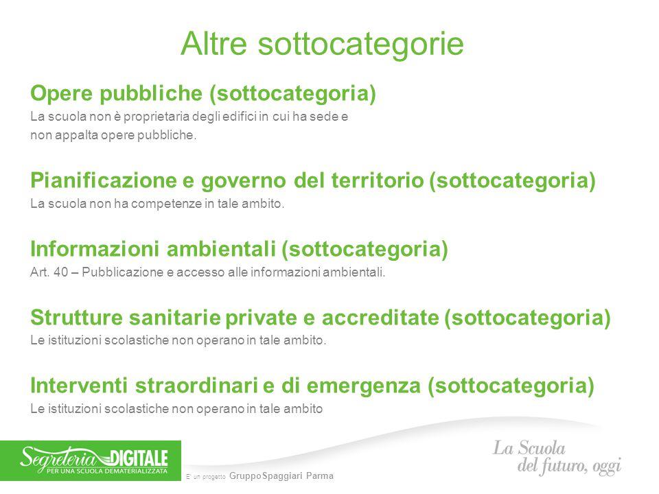 E' un progetto GruppoSpaggiari Parma Altre sottocategorie Opere pubbliche (sottocategoria) La scuola non è proprietaria degli edifici in cui ha sede e