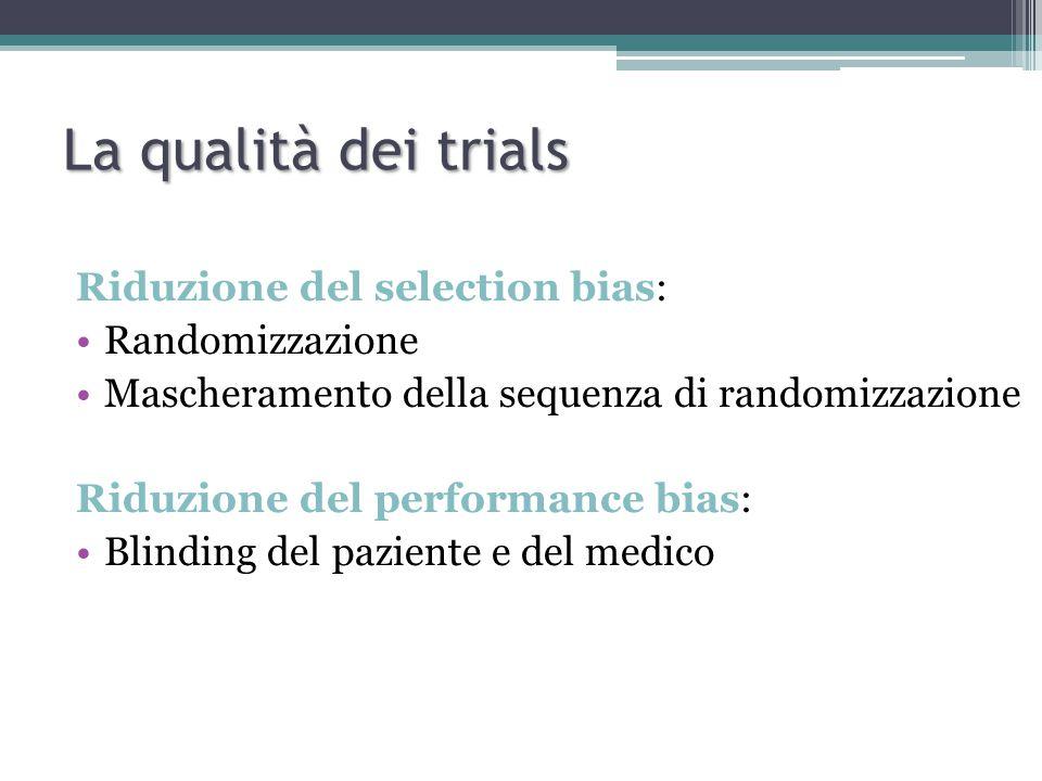 Riduzione del selection bias: Randomizzazione Mascheramento della sequenza di randomizzazione Riduzione del performance bias: Blinding del paziente e del medico La qualità dei trials