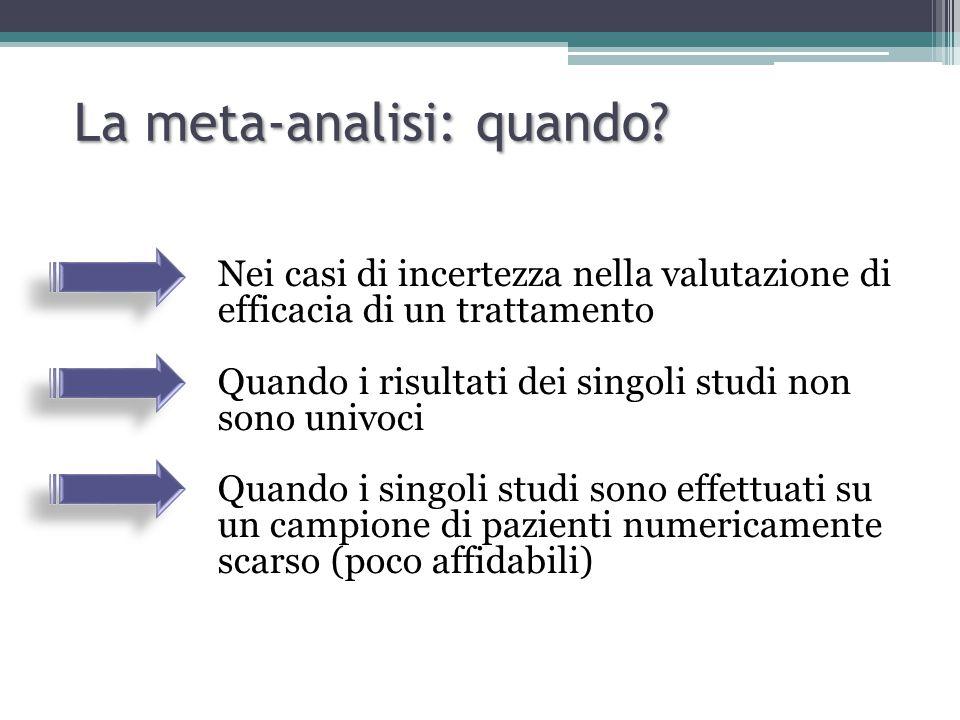 Quando usare MD o SMD Mean Difference Quando gli studi hanno outcome con misure confrontabili (es.