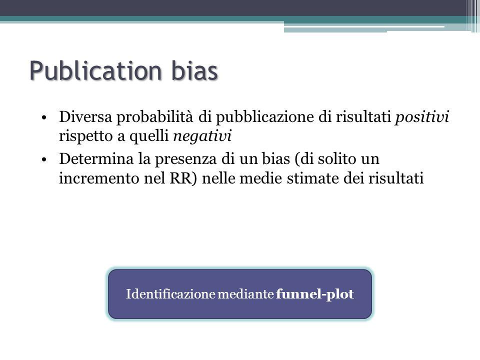 Diversa probabilità di pubblicazione di risultati positivi rispetto a quelli negativi Determina la presenza di un bias (di solito un incremento nel RR) nelle medie stimate dei risultati Identificazione mediante funnel-plot Publication bias