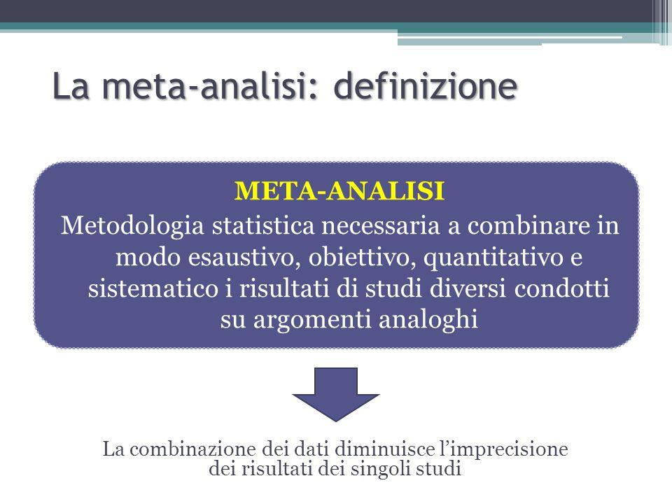 META-ANALISI Metodologia statistica necessaria a combinare in modo esaustivo, obiettivo, quantitativo e sistematico i risultati di studi diversi condotti su argomenti analoghi La meta-analisi: definizione La combinazione dei dati diminuisce l'imprecisione dei risultati dei singoli studi
