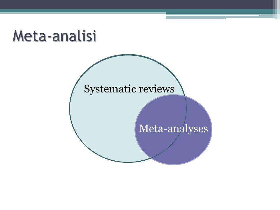 Svantaggi L'elevata numerosità delle meta-analisi fa sì che differenze anche modeste tra trattamento sperimentale e controlli raggiungano la significatività statistica La minor probabilità di pubblicazione di trials con risultati negativi amplifica il peso dei trial con esito positivo La qualità delle meta-analisi dipende dalla qualità degli studi Una meta-analisi può individuare ma non correggere bias di pubblicazione (bias di selezione) o errori metodologici di conduzione degli studi (bias di informazione/selezione) Richiedono lo stesso rigore metodologico degli studi primari e possono essere egualmente affette da errori sistematici