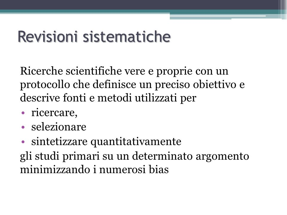 Fixed effects model Modello che si basa sull'assunzione che ci sia omogeneità di effetto tra gli studi (le differenze osservate tra gli studi sono dovute al caso).