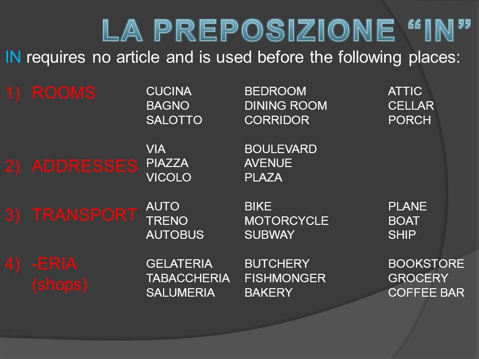 1)ROOMS 2)ADDRESSES 3)TRANSPORT 4)-ERIA (shops) CUCINA BAGNO SALOTTO VIA PIAZZA VICOLO AUTO TRENO AUTOBUS GELATERIA TABACCHERIA SALUMERIA BEDROOMATTIC