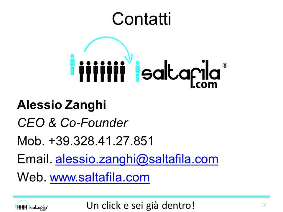 Contatti Alessio Zanghi CEO & Co-Founder Mob. +39.328.41.27.851 Email.