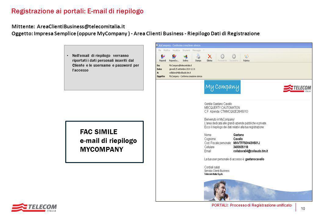 10 Mittente: AreaClientiBusiness@telecomitalia.it Oggetto: Impresa Semplice (oppure MyCompany ) - Area Clienti Business - Riepilogo Dati di Registrazi