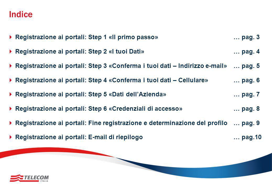 Indice  Registrazione ai portali: Step 1 «Il primo passo»… pag. 3  Registrazione ai portali: Step 2 «I tuoi Dati»… pag. 4  Registrazione ai portali