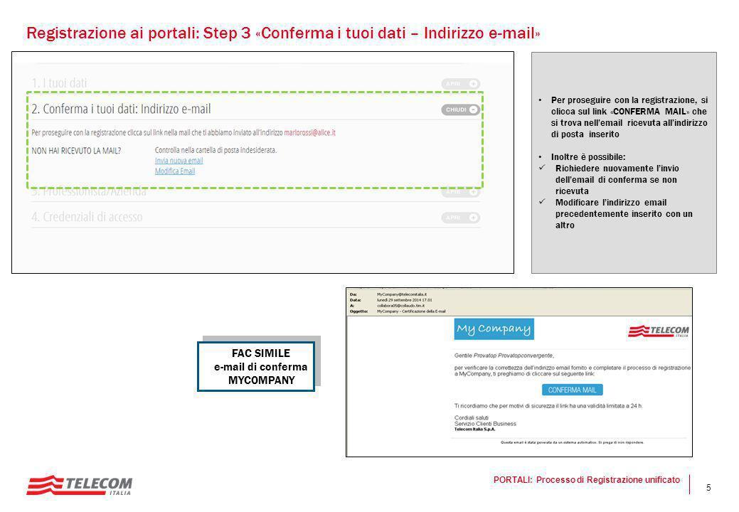 5 Per proseguire con la registrazione, si clicca sul link «CONFERMA MAIL» che si trova nell'email ricevuta all'indirizzo di posta inserito Inoltre è p