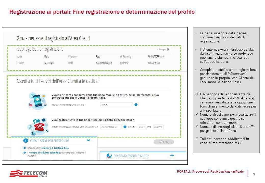 9 La parte superiore della pagina, contiene il riepilogo dei dati di registrazione. Il Cliente riceverà il riepilogo dei dati da inseriti via email, e
