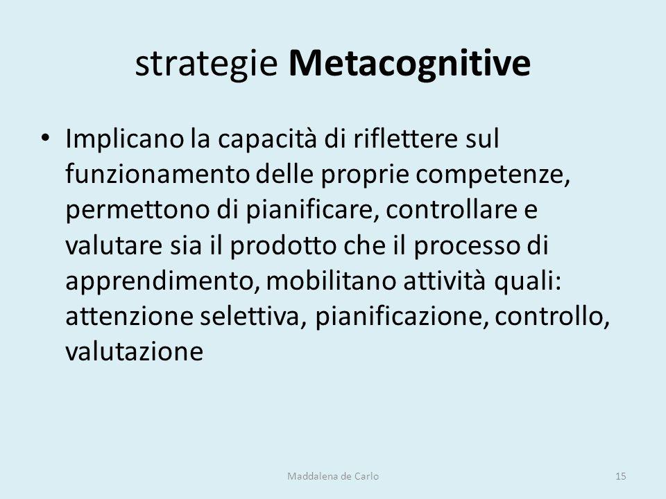 strategie Metacognitive Implicano la capacità di riflettere sul funzionamento delle proprie competenze, permettono di pianificare, controllare e valut