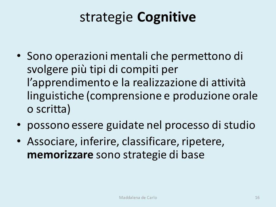strategie Cognitive Sono operazioni mentali che permettono di svolgere più tipi di compiti per l'apprendimento e la realizzazione di attività linguist