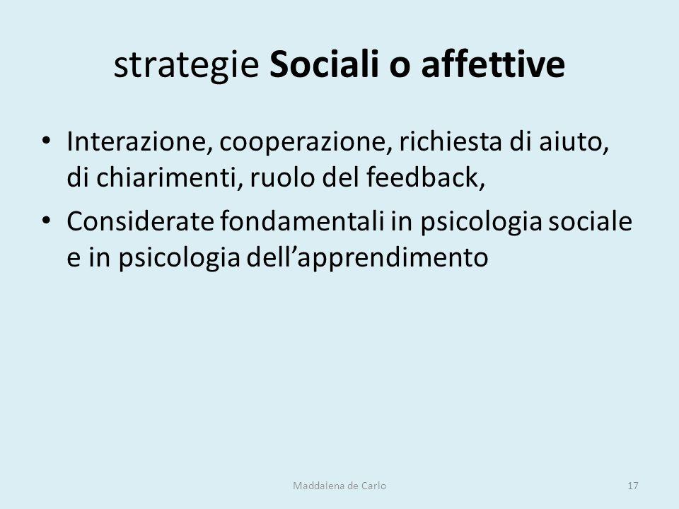 strategie Sociali o affettive Interazione, cooperazione, richiesta di aiuto, di chiarimenti, ruolo del feedback, Considerate fondamentali in psicologi