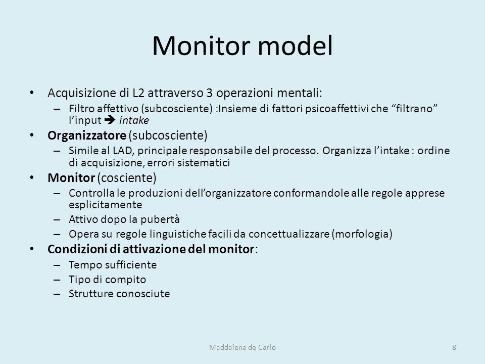 """Monitor model Acquisizione di L2 attraverso 3 operazioni mentali: – Filtro affettivo (subcosciente) :Insieme di fattori psicoaffettivi che """"filtrano"""""""